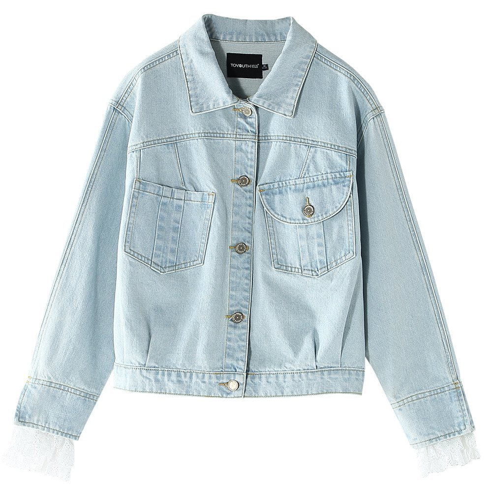 734fe0a1476 Button closure. Classic denim jacket with fold-over collar