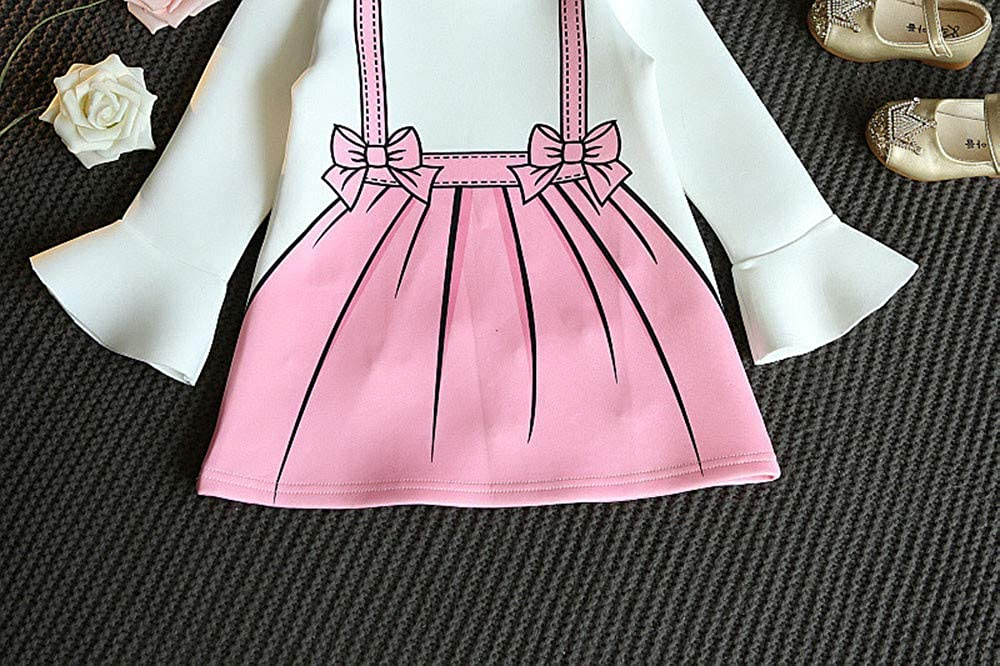 FORESTIME Cute Cartoon Style Kids Baby Girls Pearl Decorate Dress Flare Sleeve Bow Polyester Princess Dress Gift Clothes