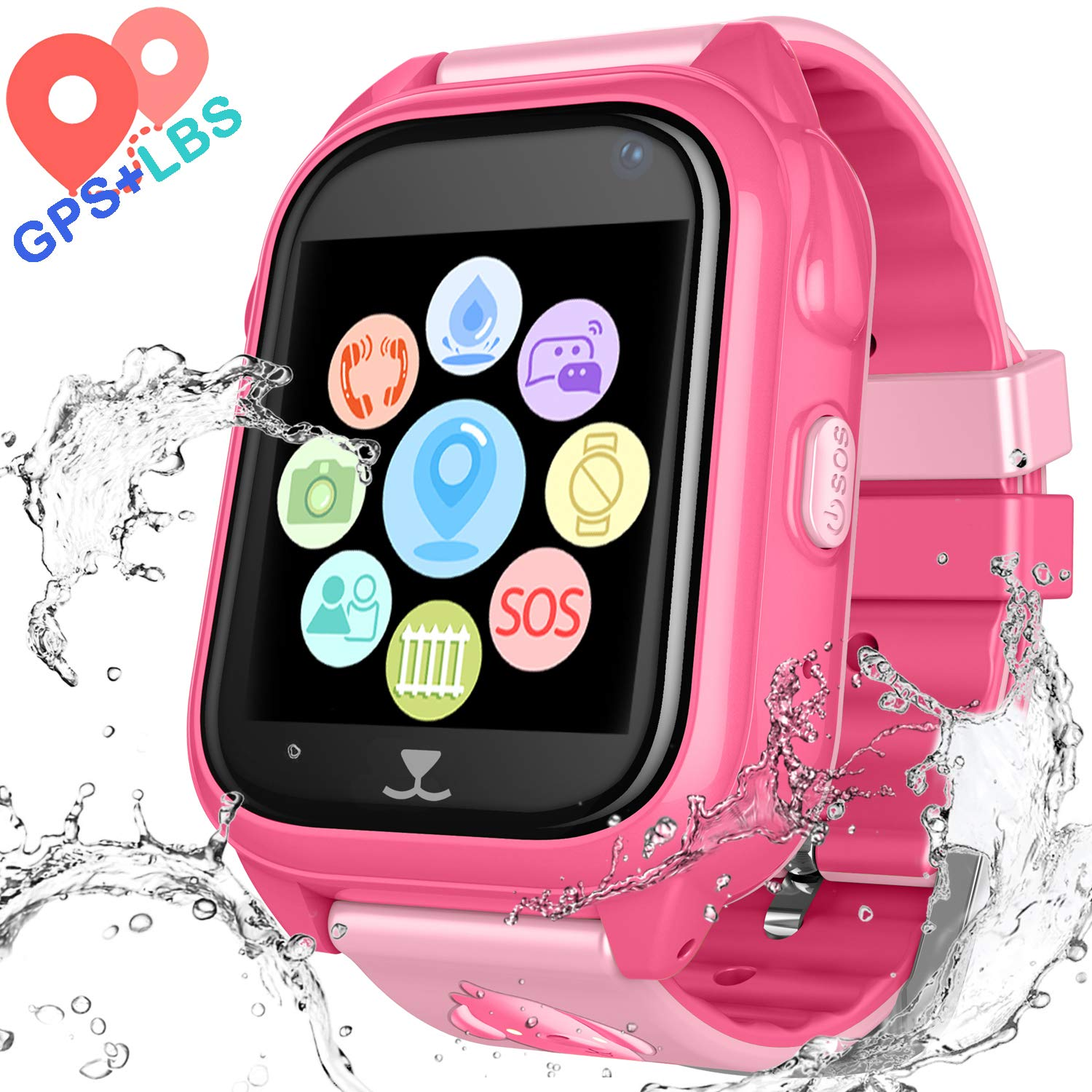 Kids Waterproof Smartwatch with GPS Tracker - Boys and Girls IP67 Smart Watch Phone with Camera Games Sports Watches Back to School Supplies Grade ...