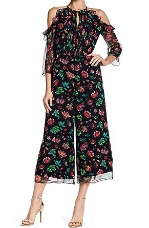 1fd1c36d00f Amazon.com  Rachel Zoe Women s Beth Floral Print Jumpsuit Silk Black 12   Clothing