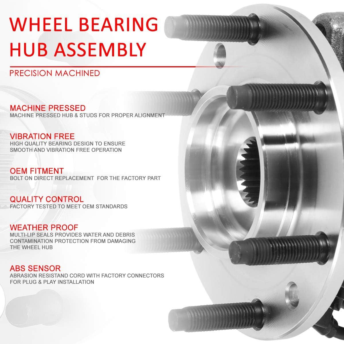 DNA Motoring OE-WHA-006 Semi-Polished Steel Wheel Bearing Hub Assembly 515050 For 02-05 Explorer Aviator Mountaineer