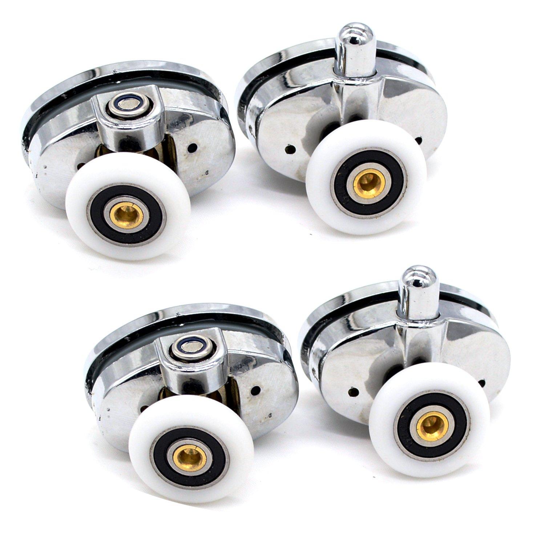 4x singolo cromato doccia rulli/Runners/ruote sostitutive 23mm