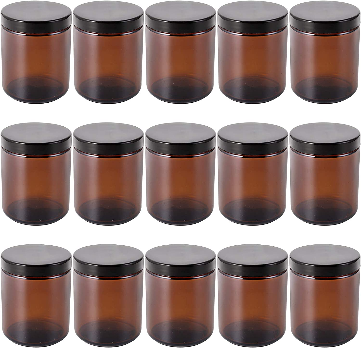 Bekith 15 Pack 8 ounce Round Glass Jars with Black Plastic Airtight Lids and White Inner Liners, Empty Candle Jar, Food Storage Containers for Spice, Round Cosmetic Containers for Lotion Cream, Amber