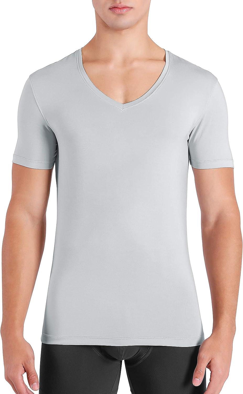 DAVID ARCHY Men's Undershirts Ultra Soft Micro Modal V-Neck Breathable T-Shirts 3 Pack