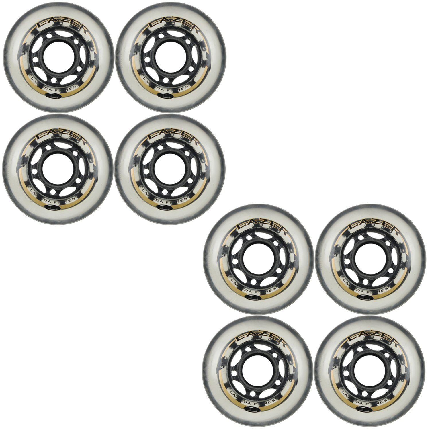 Labeda Wheels Inline Roller Hockey Lazer 82A 72mm Clear 8-Pack