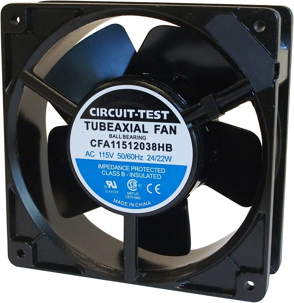 Circuit-Test 115V AC Industrial Cooling Fan - 120mm x 120mm x 38mm - Metal Blades Ball Bearings Aluminum Frame - High Speed
