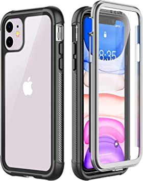 Full-Body with Built-in Screen Protector Heavy Drop Protection Shock Absorption Cover Case Designed for iPhone 11-6.1 inch OTBBA iPhone 11 Case Purple-Clear