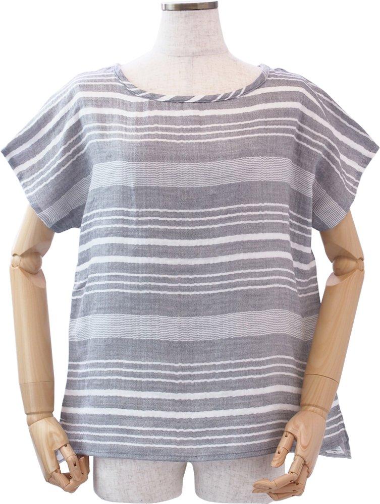 (内野)UCHINO (ウチノ) マシュマロガーゼ ランダムボーダー Tシャツ ルームウェア B06XSCLXNF M|グレー グレー M