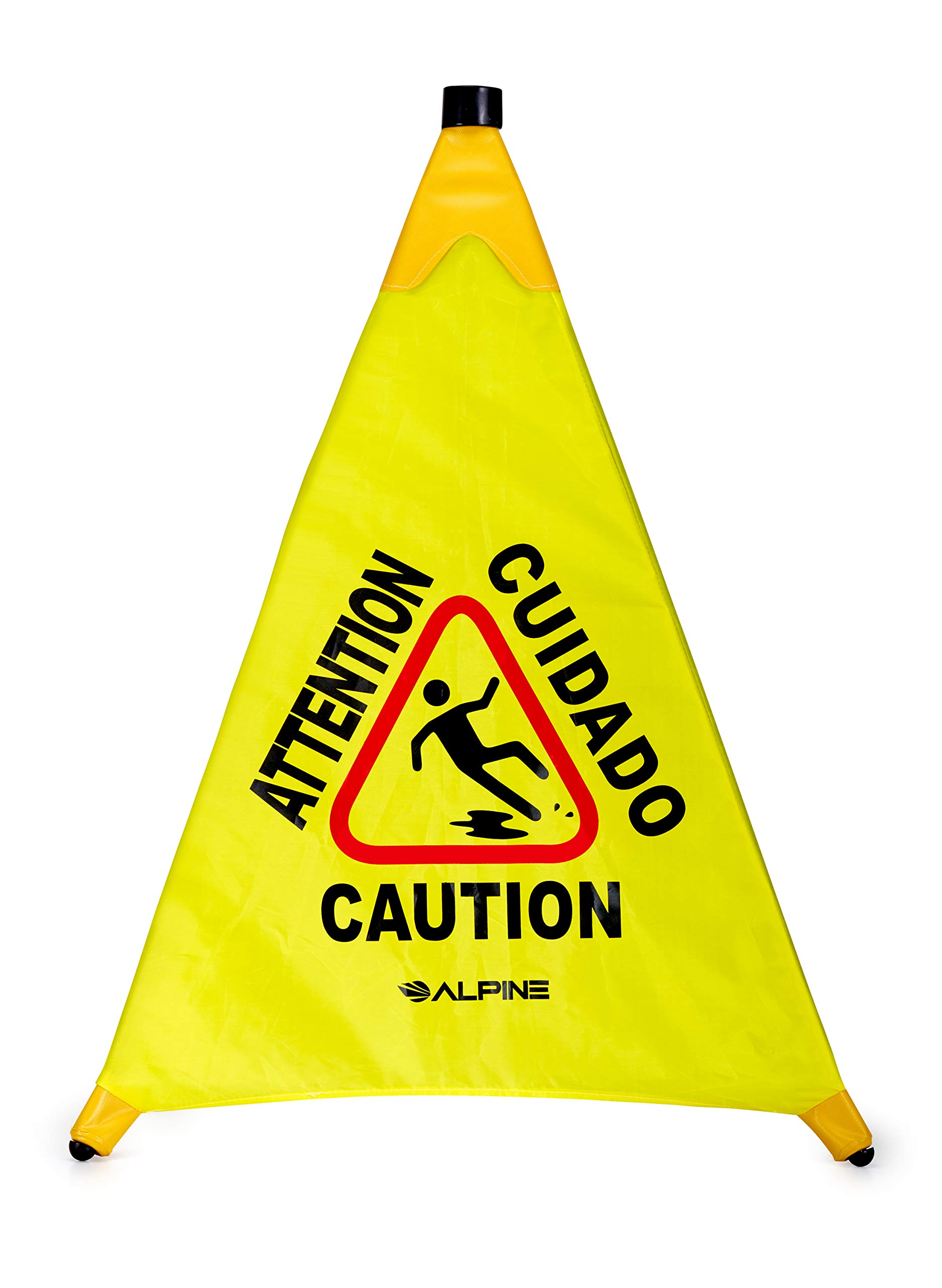 Alpine Industries 30'' Pop-Up Wet Floor Sign - Portable Three Sided Caution Cone - Slip & Fall Accident Prevention - for Commercial & Office Use by Alpine Industries
