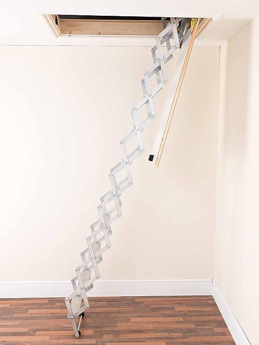 Alufix 1502-004 - Escalera de ático retractable (2,19 a 2,46 m, 9 peldaños): Amazon.es: Bricolaje y herramientas