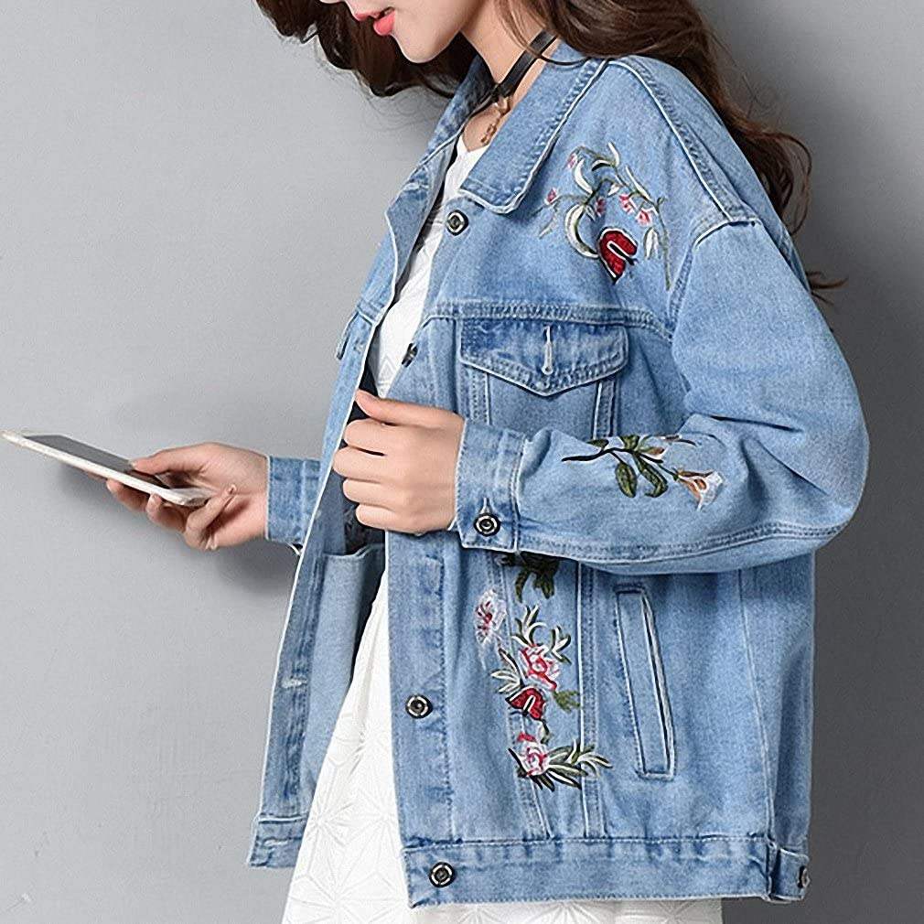Huiwa Womens Denim Jacket Embroidery Jeans Coat Long Sleeve Loose