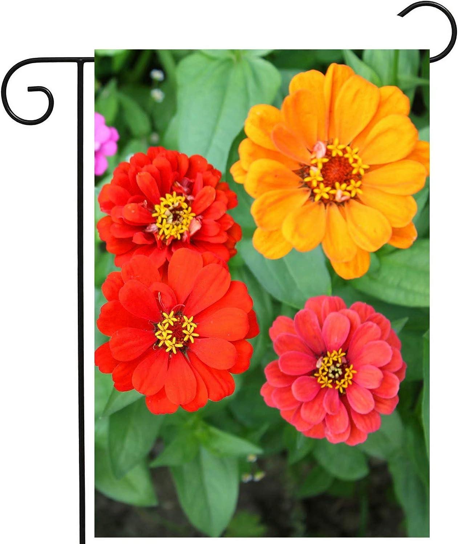 ShineSnow Colorful Floral Flowers Zinnia Spring Summer Nature Seasonal Garden Yard Flag 12