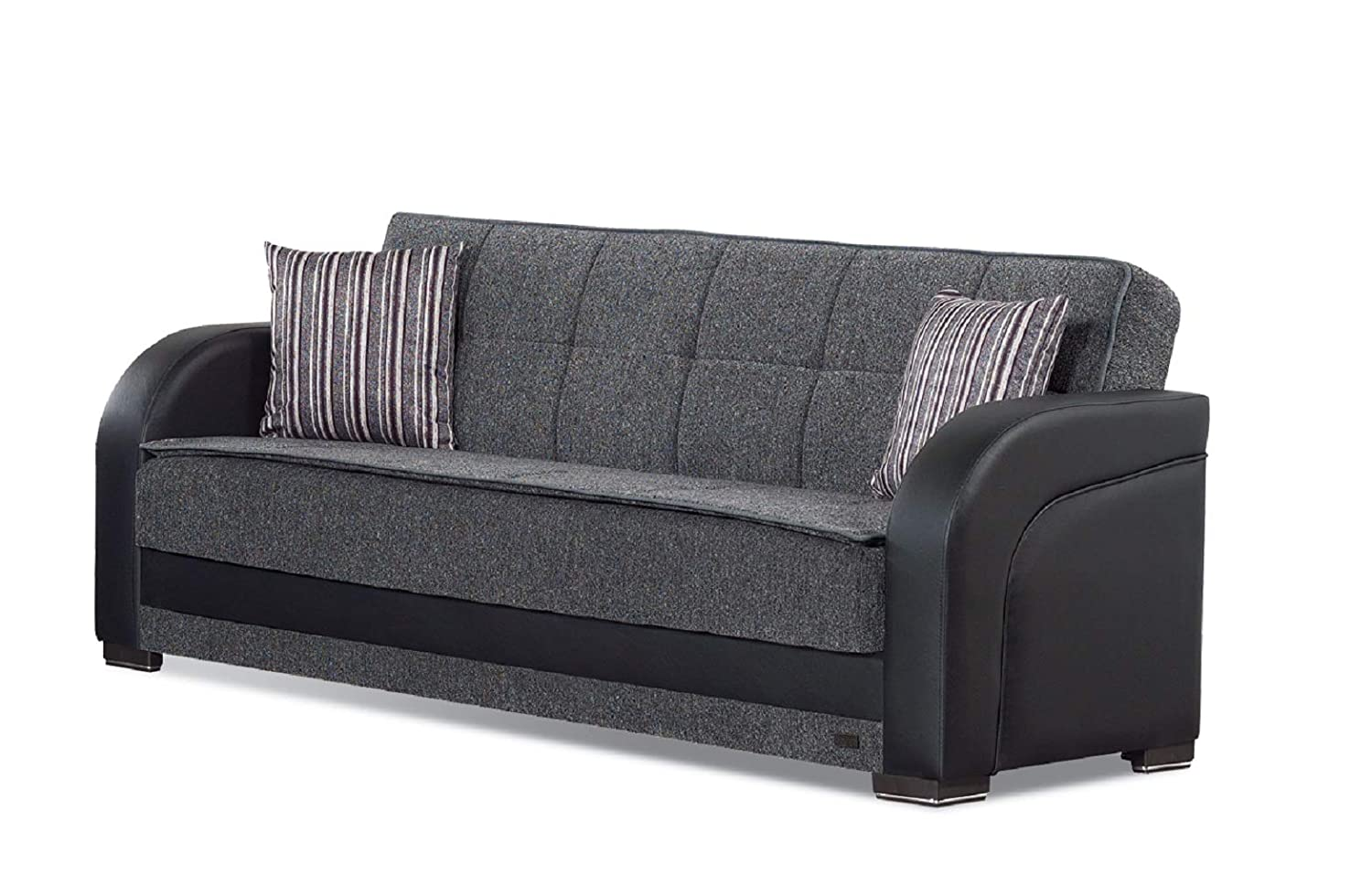 BEYAN Oklahoma Collection Folding Sofa Bed / Sleeper with Storage Space, Includes 2 Pillows, Gray