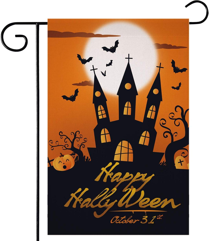 ZYP Halloween Burlap Garden Flag, Double Sided 12.5x18.5 Inch Happy Halloween Pumpkin Flag Spooky Garden Yard Banner Flag Autumn Lawn Outdoor Decoration