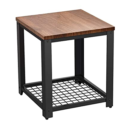 2-Tier Side End Table Nightstand Sofa Table Living Room w//Storage Shelves Brown