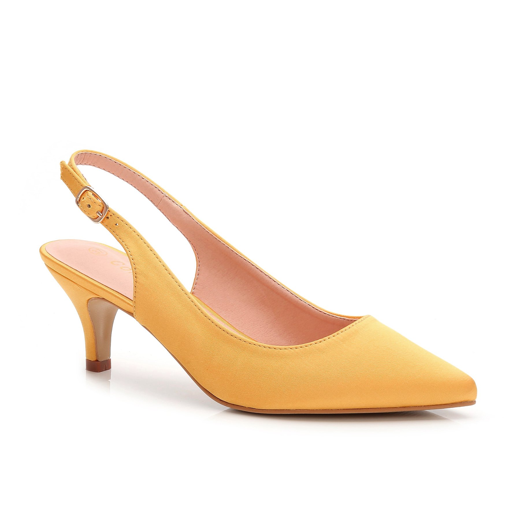 ComeShun Womens Shoes Slingback Kitten Heels Dress Pumps (39 EU/8 US, Yellow)