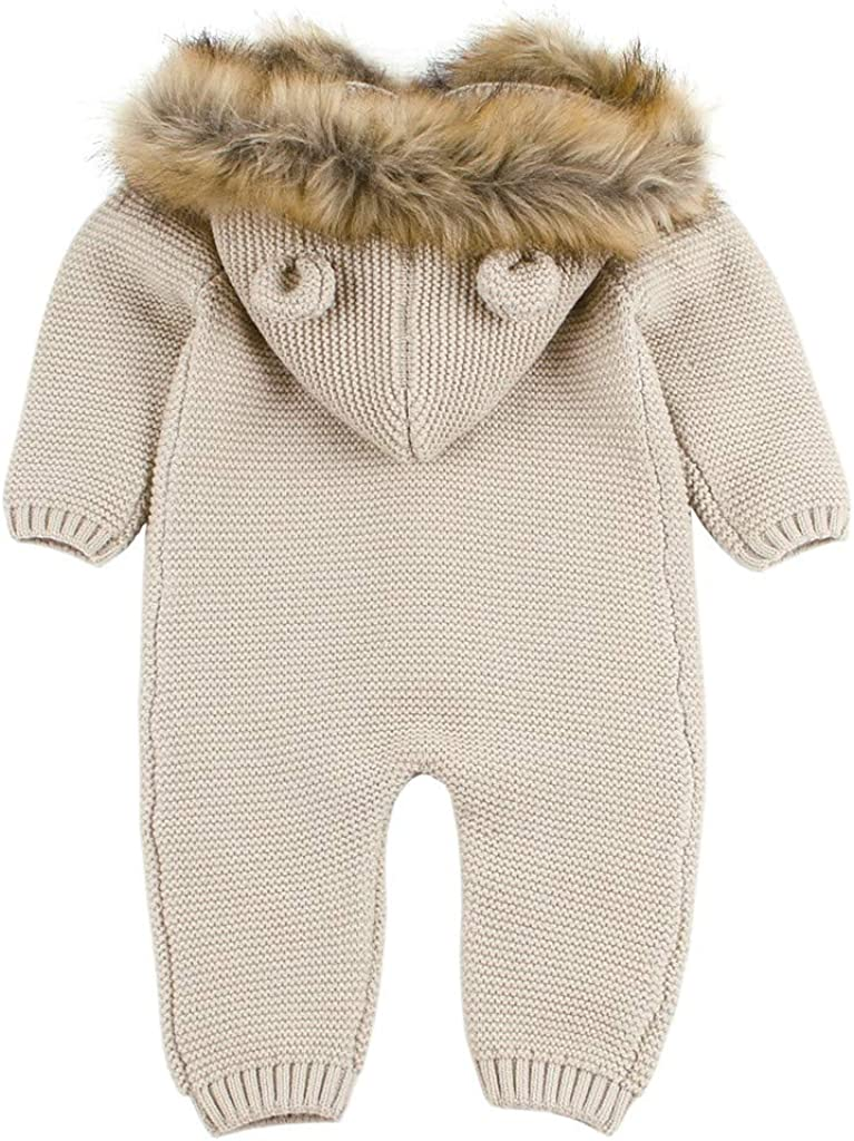 Baulody Baby Girls Fur Collar Hooded Knitted Tops Winter Autumn Warm Romper Jacket Coat 6-12 Months, Khaki
