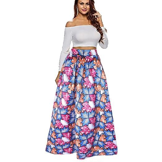 Esta falda larga cuenta con agarre elástico en la cintura y con un colorido  estampado moderno a4255e779883