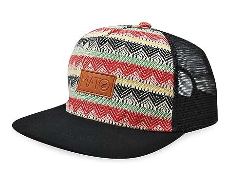 cb205d8e786 Image Unavailable. Image not available for. Color  Mato Woven Trucker Hat  Snapback Flat Brim Boho Tribal Pattern Baseball Cap Black
