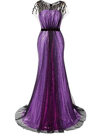 JAEDEN Sequin Prom Dresses Long Evening Party Dress Mermaid Gown Purple US 20W
