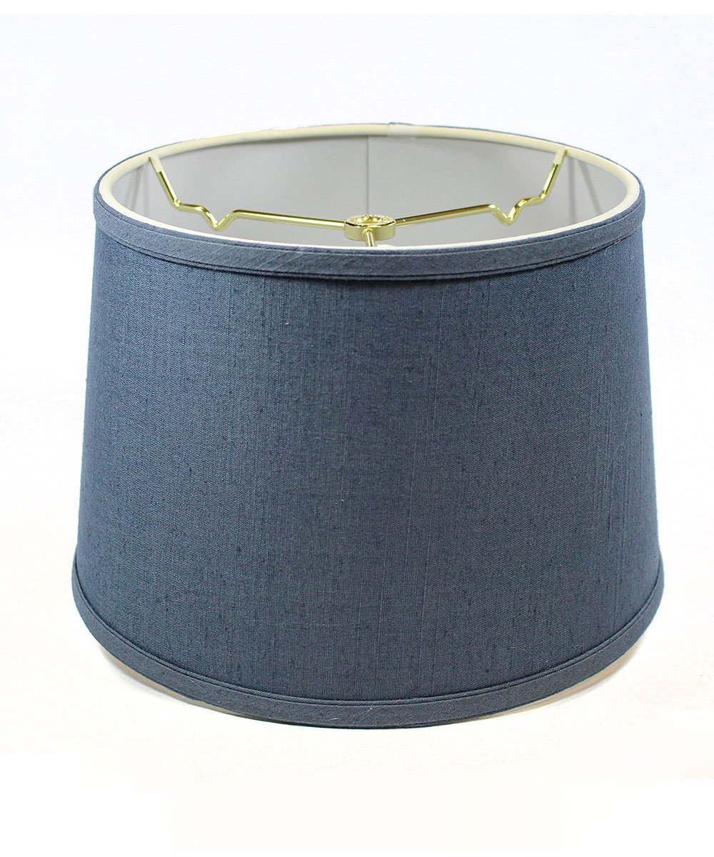 10x12x8 Hardback Shallow Drum Lampshade Textured Blue Slate with Brass Spider fitter By Home Concept - Perfect for table and desk lamps - Medium, Blue