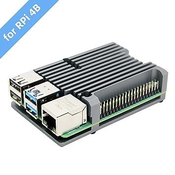 Geekworm Carcasa para disipador térmico Raspberry Pi 4 Modelo B con Doble Ventilador, Caja de aleación de Aluminio Raspberry Pi 4B (Sin Ventilador-de ...
