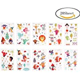 Yorgewd Temporary Tattoos for Kids, Cartoon Cute Animal Temporary Tattoo Stickers Removable Tattoos stickers for Boys Girls Children's Birthday Party Bag Filler