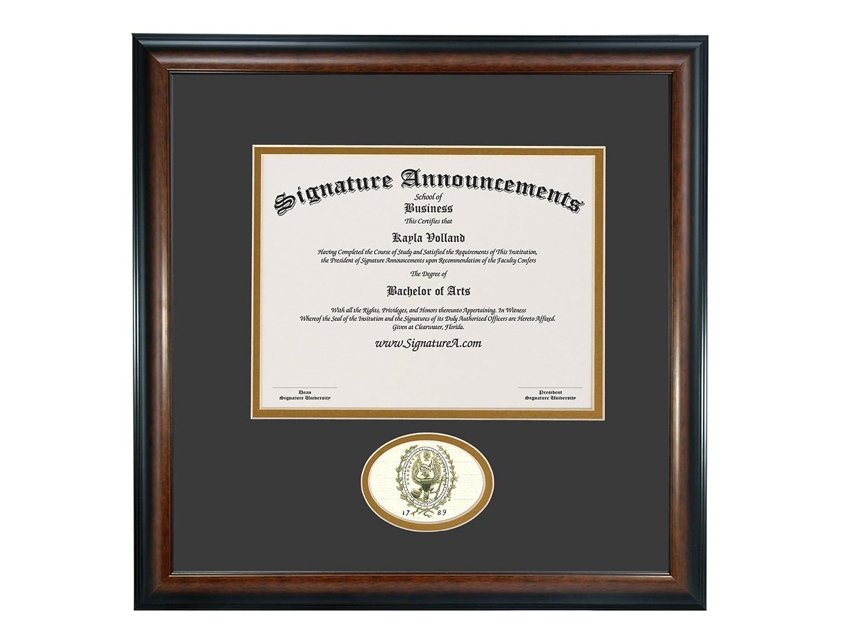 Sculpted Foil Seal Graduation Diploma Frame 20 x 20 Matte Mahogany Signature Announcements Georgetown-University Undergraduate