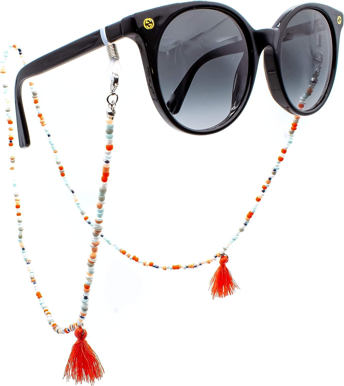 2020 Edition GERNEO/® F/ähnchen in Grau- und Rott/önen 18 Karat Gold oder 925er Silber extra lang Premium Brillenband /& Brillenkordel Unisex f/ür Lesebrille /& Sonnenbrille