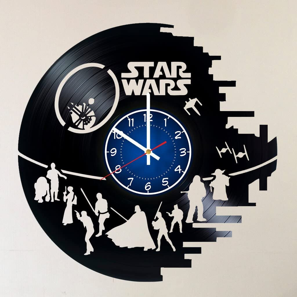 Star Wars 12 inches / 30 cm Handmade Vinyl Record Wall Clock - Decor for Bedroom - Gift for Men - Death Star - Darth Vader - Luke Skywalker