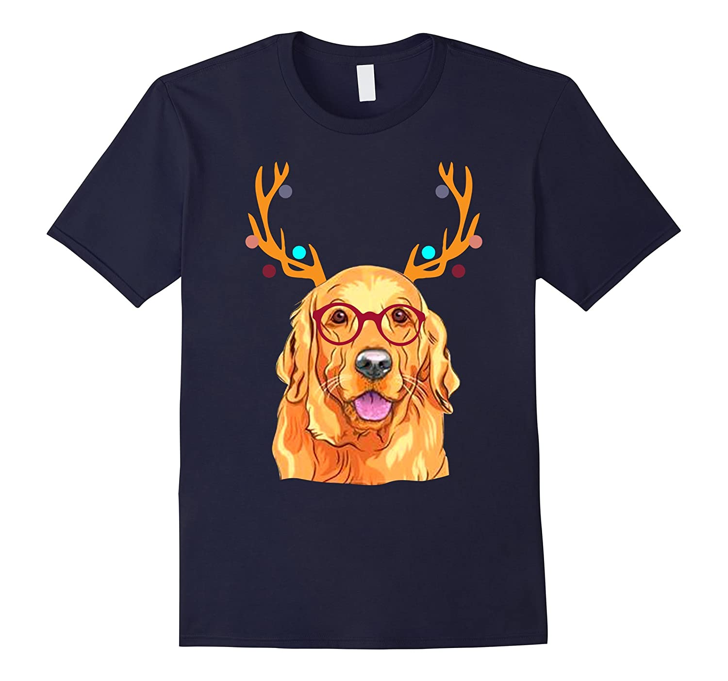 1807c57afe XMAS Funny Golden Retriever with Antlers Christmas T Shirt-ANZ ...