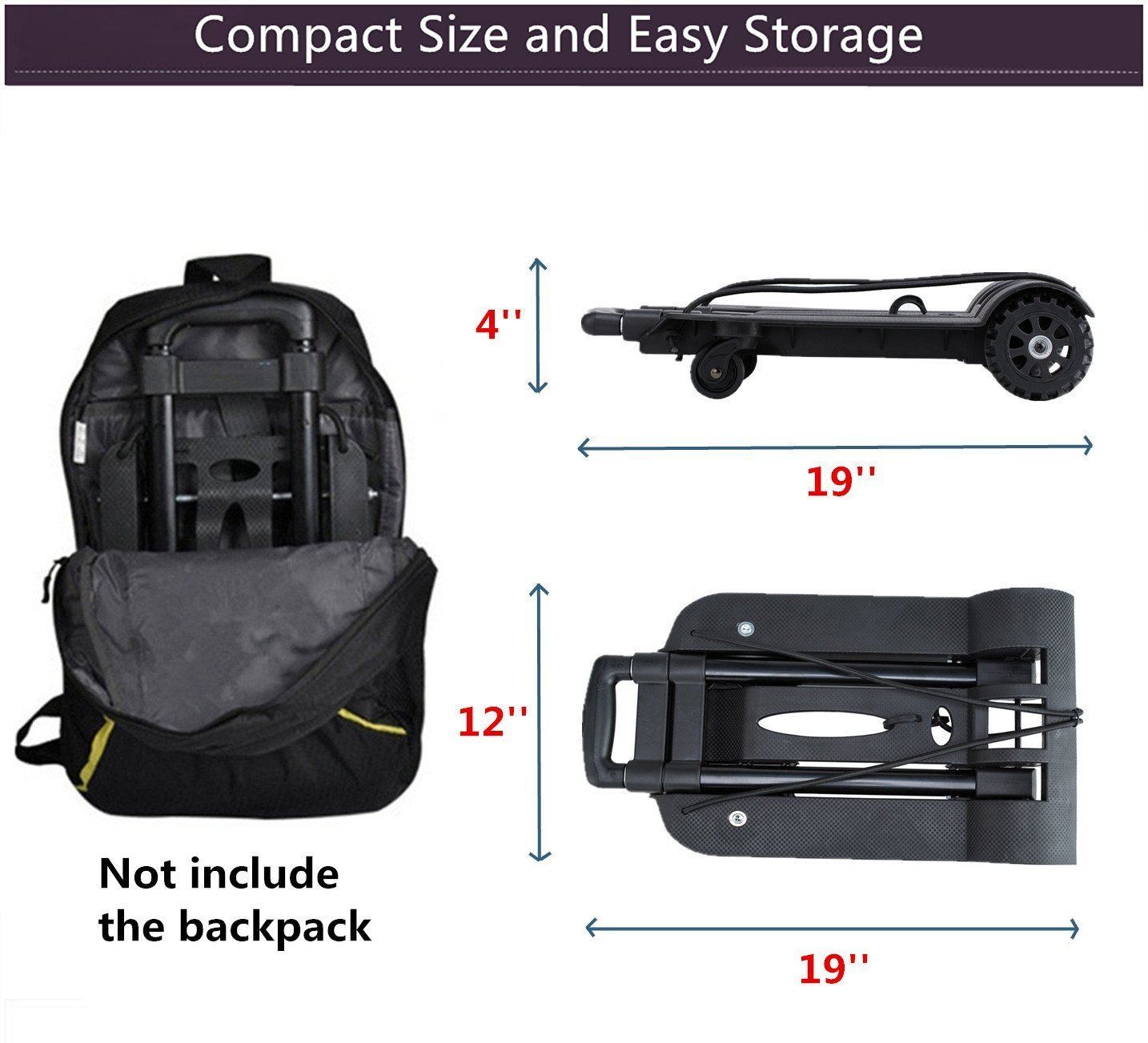 Folding Hand Truck, 75 Kg/165 lbs Heavy Duty Solid Construction Utility Cart Compact and Lightweight for Luggage, Personal, Travel, Auto, Moving and Office Use - Portable Fold Up Dolly(4 wheel-roate) by ROYI (Image #6)