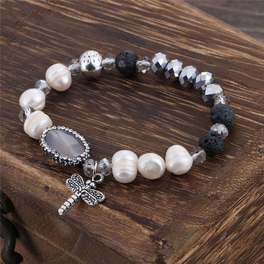 UPPPP Bohemio Perlas de Cristal de Color Perlas de Imitación Pulsera Libélula Colgante de Joyería para Las Mujeres Regalo
