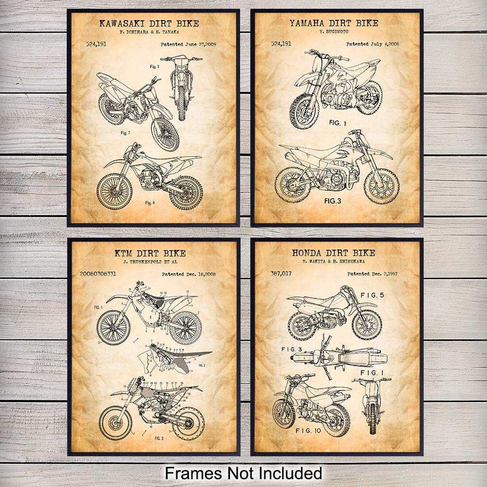 Motorcycle Dirt Bike Patent Art Prints - Vintage Wall Art Poster Set - Chic Rustic Home Decor for Man Cave, Boys, Kids, Teens Room, Office, Garage, Den - Gift for Dirtbike Fans - 8x10 Photo - Unframed