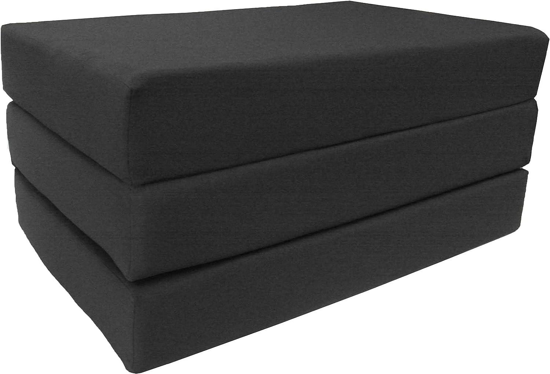 D D Futon Furniture Black Full Size Shikibuton Trifold Foam Beds 6 x 54 x 75, High Density Resilient White Foam 1.8 lbs, Floor Foam Folding Mats.