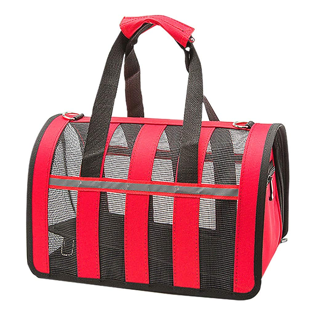 Pet Carrier Dog Cat Backpack Outdoor Multifunctional Breathable Mesh Travel Comfortable Portable Portable Messenger Bag Red