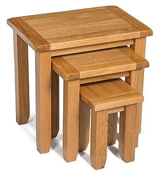 Monchique Oak Nest Of Tables In Light Oak Finish | Solid Wooden Nested  Tables