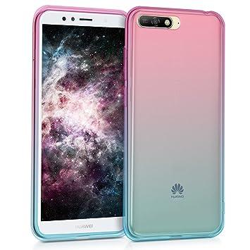 kwmobile Funda para Huawei Y6 (2018) - Carcasa para móvil de TPU con diseño Bicolor - Rosa Fucsia/Azul/Transparente