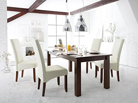 Essgruppe Tisch Bologna Mit Stuhle Montreal Creme In Hevea Kolonialstil Amazon De Kuche Haushalt