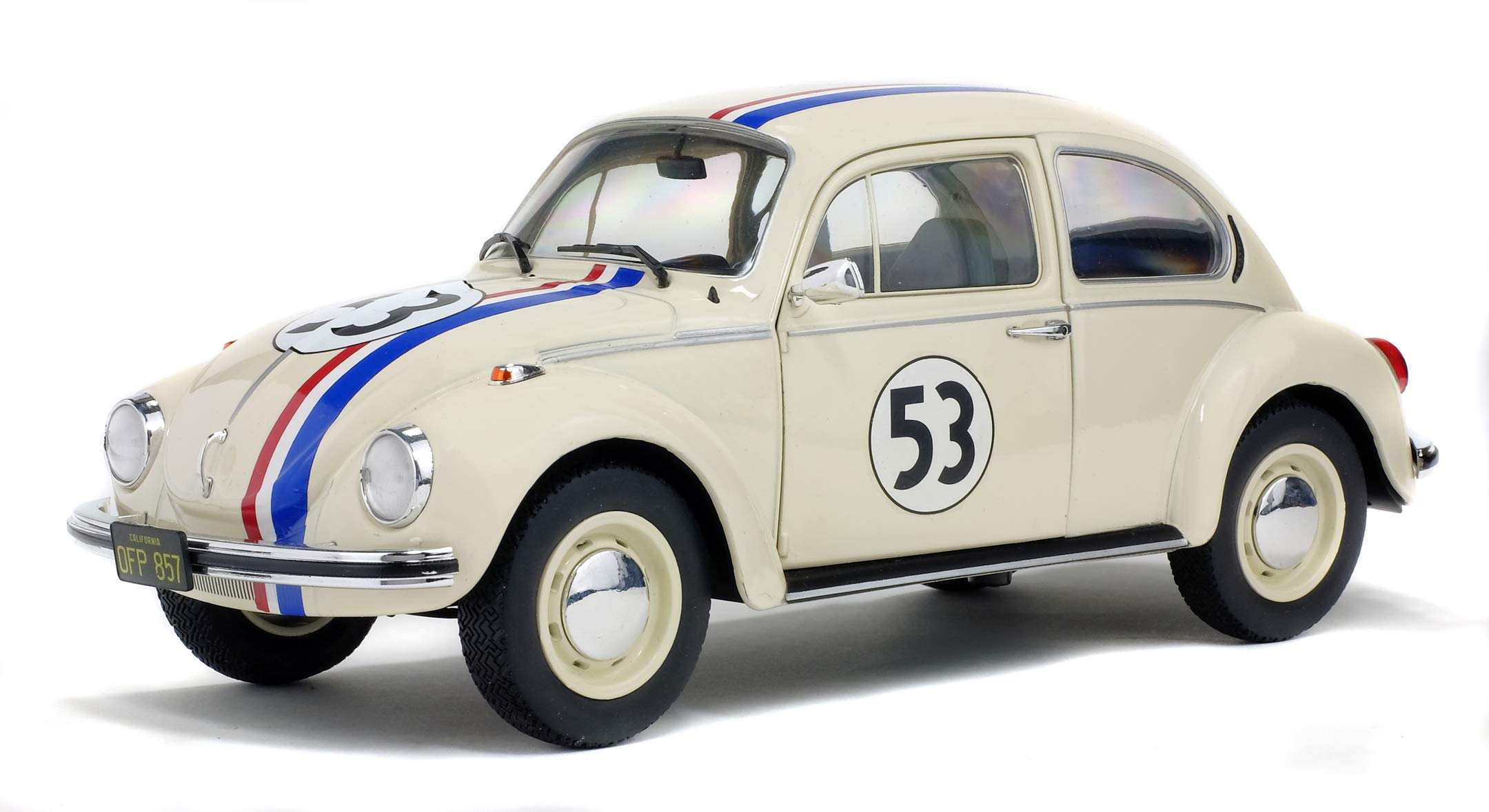 "Solido 421184040 1:18 VW Käfer 1973 Volkswagen Beetle 1303 Racer 53"" Die-Cast Model, Beige, Scale"