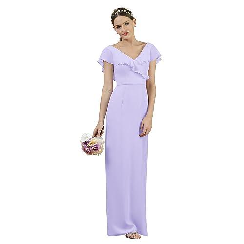 Alicepub Long Chiffon Bridesmaid Dress Prom Gown V-Neck Bridal Party Evening Dress
