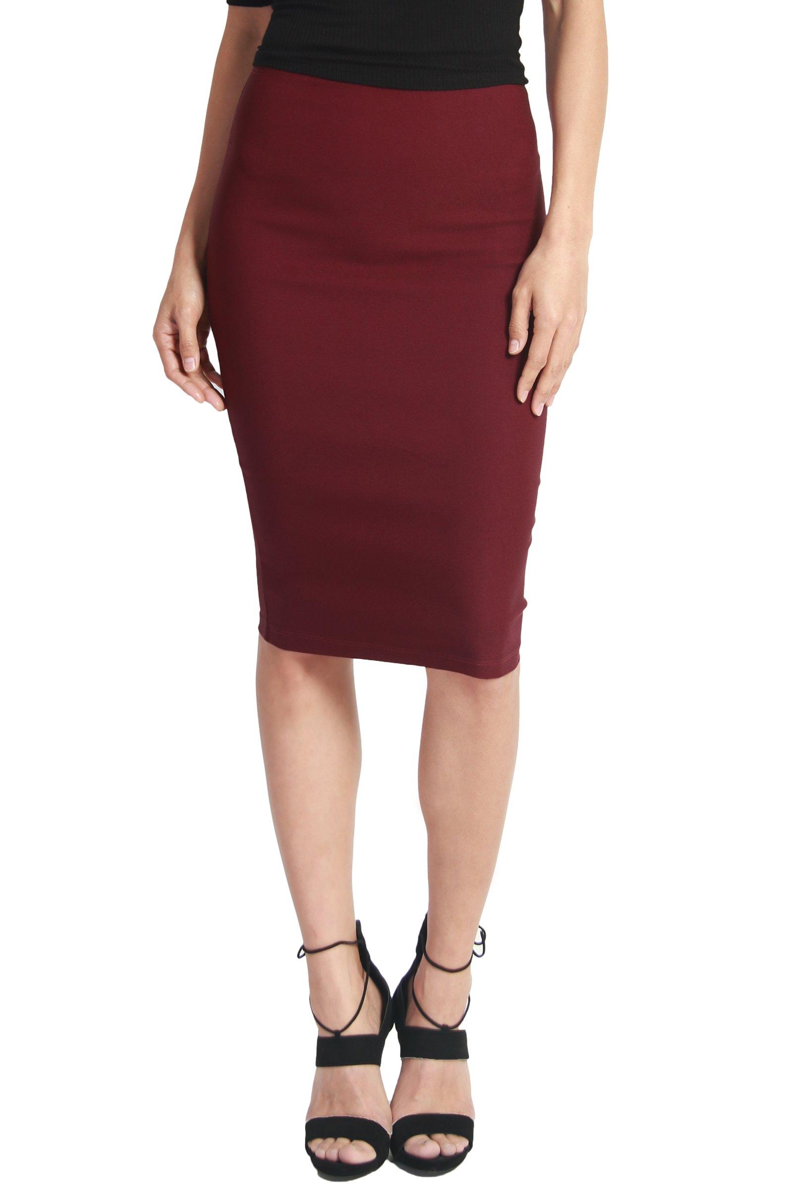 TheMogan Women's High Waist Stretch Bodycon Pencil Skirt Wine 1XL