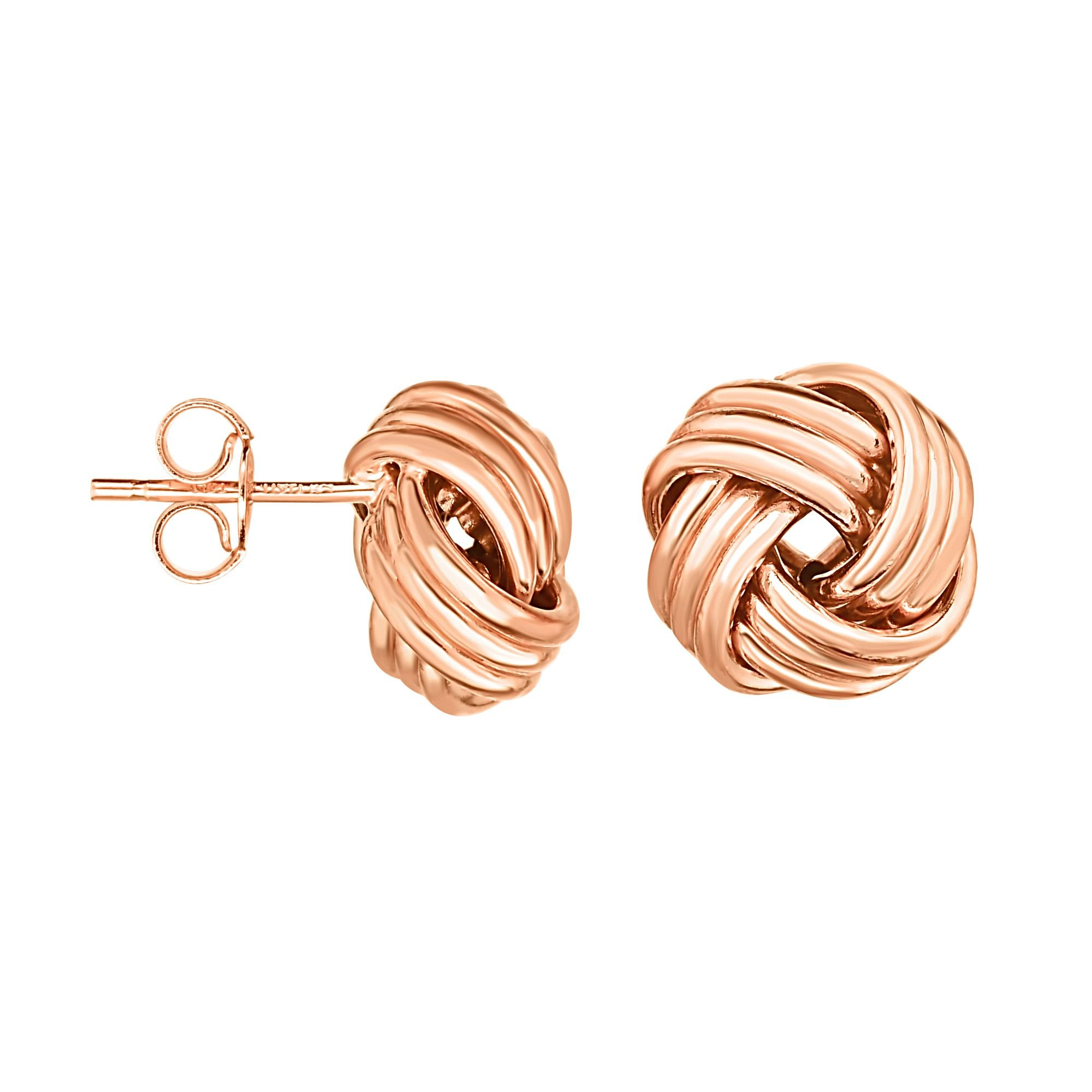 Aleksa Ladies 14K Gold Rose Finish Round Love Knot Earrings with Push Back Clasp