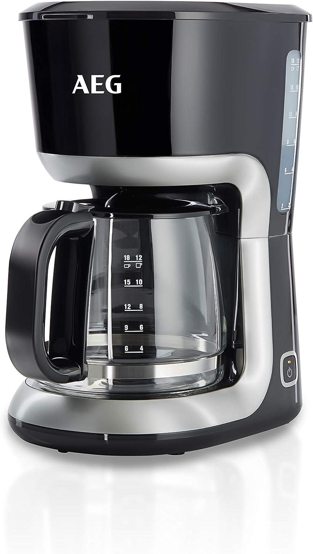 AEG KF3300 Cafetera Serie 3 de 12 Tazas, Jarra de Cristal con Indicador de Nivel,Apta Lavavajillas, Sistema Antigoteo, Filtro Extraible, Función Apagado Automático, 1100W,Capacidad de 1.4L, Negro: Amazon.es: Hogar