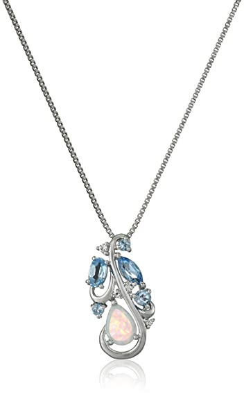 Amazon sterling silver created opal and blue and white topaz sterling silver created opal and blue and white topaz pendant necklace 18quot aloadofball Choice Image