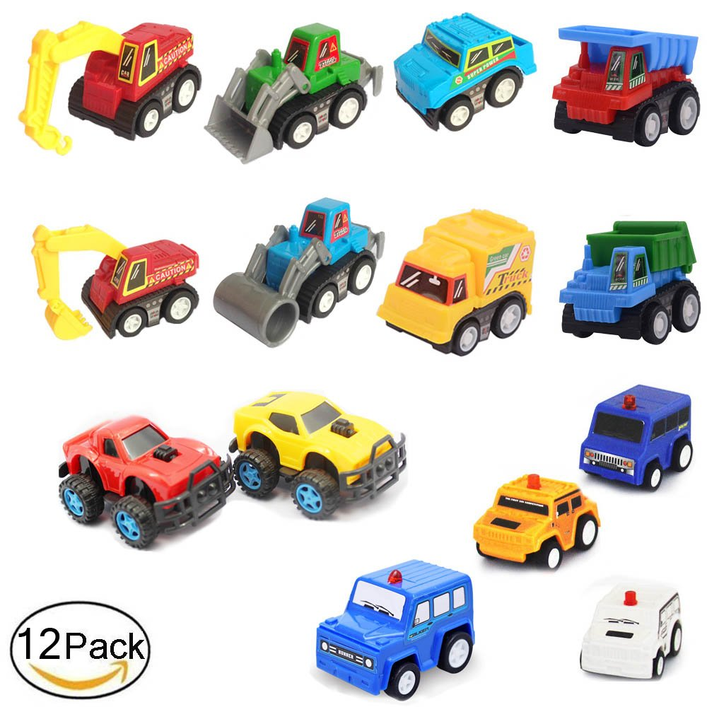12 Pull Back And Go Mini Car Kids Toy Play Set, Assorted Construction Vehicles Dump Truck and Racing Car and Police Car,Pack Pull Back Vehicles Toys for Toddlers Boys Rikuzo