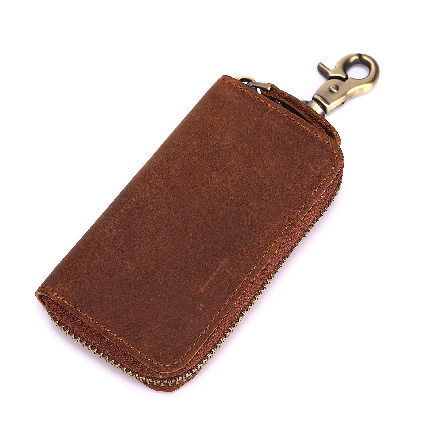 Color : Brown, Size : S DAYIYANG Special Design 2018 New Hanging Key Bag Leather Crazy Horse Leather Retro Small Card Bag Wallet with Leather Key Bag