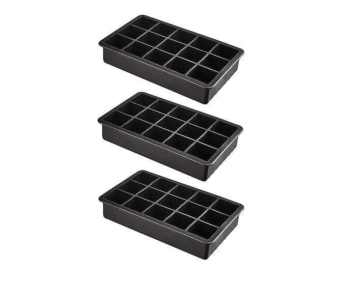 XXL Eiswürfelform aus Silikon für Jumbo Eiswürfel - 3er Pack 15 riesige Eiswürfel 3 x 3 x 3 cm - BPA-Frei
