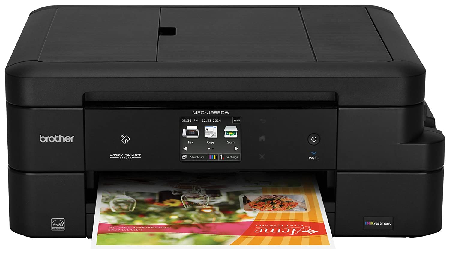 Brother Inkjet Printer, MFC-J985DW, Duplex Printing, Wireless Connectivity,  Cost-Effective Color Printer, Business Capable Features, Amazon Dash