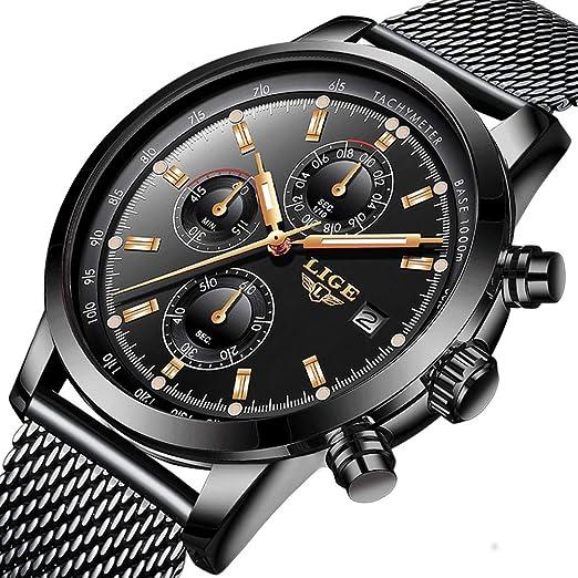 Hombres Reloj Mecánico Automático Mens Hueco Impermeable Deporte LIGE Marca de Lujo Reloj de Pulsera de Acero Tourbillon Relojes Puntero Romano Oro Azul: ...